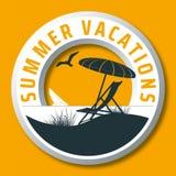 Rund logo för vektor för sommarsemestrar Royaltyfria Bilder