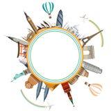 Rund loppbakgrund med världsomspännande sikt och nivåer royaltyfri illustrationer