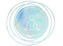 Rund lotusblomma för Om för symbol för vattenfärgmandalameditation royaltyfri illustrationer