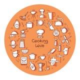 Rund matlagning med förälskelsebakgrund från symboler på temat av köket och laga mat med bokstäver eller stället för text royaltyfri illustrationer