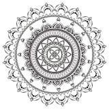 Rund modell i form av mandalaen för henna Mehndi vektor illustrationer
