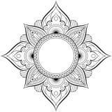 Rund modell i form av mandalaen för henna, Mehndi, tatuering, garnering Dekorativ prydnad i etnisk orientalisk stil royaltyfri illustrationer