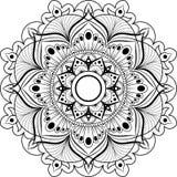 Rund modell Mandala för henna, Mehndi, tatuering, garnering Dekorativ prydnad i etnisk orientalisk stil royaltyfri illustrationer