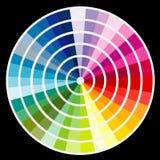 Rund palett för färg på svart bakgrund stock illustrationer