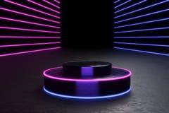 Rund podium, sockel eller plattform, exponerade av ledde strålkastare illustration Ljus lightpodium annonsering av stället arkivfoton