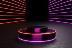 Rund podium, sockel eller plattform, exponerade av ledde strålkastare illustration Ljus lightpodium annonsering av stället arkivbilder