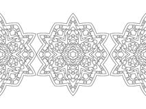 Rund prydnad för färgläggningböcker Svart vit sömlös modell lace vektor illustrationer