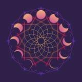 Rund prydnad med månen i olika faser Viccan symbol av en vit gudinna Linje teckning som isoleras på ett djupt royaltyfri illustrationer