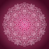 Rund prydnad på en purpurfärgad bakgrund vektor illustrationer