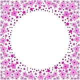 Rund ram av rosa blommor vektor illustrationer
