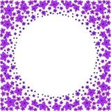 Rund ram av små purpurfärgade blommor vektor illustrationer