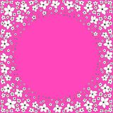 Rund ram av vita dekorativa blommor p? en ljus rosa bakgrund stock illustrationer