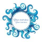 Rund ram för blåa tentakel royaltyfri illustrationer