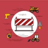 Rund ram för färgbakgrund med barrikaden i röda och vitband med hjälpmedel för konstruktion stock illustrationer