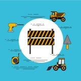 Rund ram för färgbakgrund med barrikaden i svart- och gulingband med hjälpmedel för konstruktion vektor illustrationer