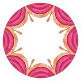 Rund ram för vattenfärg med den röda cirkusgardinen royaltyfri illustrationer