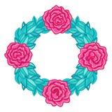Rund ram, krans av rosor med sidor Royaltyfri Foto