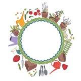 Rund ram med att arbeta i trädgården hjälpmedel och växter örtar royaltyfri illustrationer