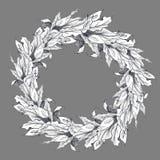Rund ram med blommor Spathiphyllums stock illustrationer