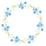 Rund ram med glömma-mig-nots blommor Arkivbild