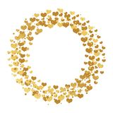 Rund ram med guld- konfettihjärtor, stjärnor och cirklar som isoleras på vit bakgrund stock illustrationer