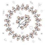 Rund ram med körsbärsröda knoppar och blommor vektor illustrationer