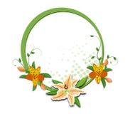 Rund ram med liljan och alstroemeria fotografering för bildbyråer