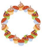 Rund ram med muffin stock illustrationer