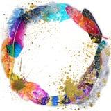 Rund ram med vattenfärgfjädrar Arkivbilder