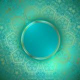 Rund ram på dekorativ guld- bakgrund Fotografering för Bildbyråer