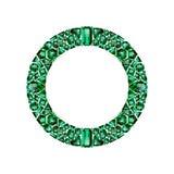 Rund ram som göras av realistiska gröna smaragdar med komplexa snitt royaltyfri illustrationer