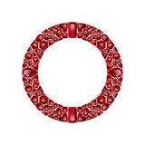 Rund ram som göras av realistiska röda rubiner med komplexa snitt stock illustrationer
