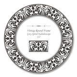 Rund Retro ram 237 Grey Spiral Kaleidoscope för tappning stock illustrationer