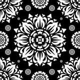 Rund sömlös svartvit modell på svart bakgrund royaltyfri illustrationer