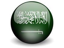 rund saudier för arabia flagga stock illustrationer