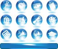rund set för blå knapputbildning Arkivbilder