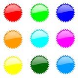 rund setwebsite för knappar Arkivfoton