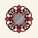 Rund spegel i sniden ram royaltyfri illustrationer