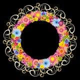 rund svart färgrik blom- ram för bakgrund stock illustrationer