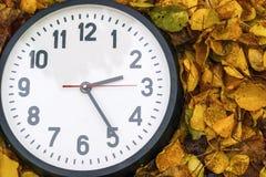 Rund svart klocka som ligger på orange höstsidor arkivbilder