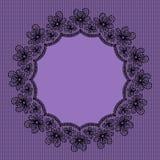 Rund svart spets- ram Royaltyfria Bilder