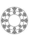Rund svartvit abstrakt design med krökta objekt Royaltyfri Bild