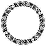 Rund svartvit ram med abstrakta dekorativa blommor kopiera avstånd Royaltyfri Bild