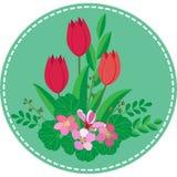 Rund symbol-applique med en Bush av vårblommor och röda tulpan stock illustrationer