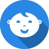Rund symbol av barnanvändarebilden Plan stilillustration med lång skugga Arkivfoto