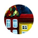 Rund symbol av huset vektor illustrationer