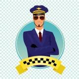 Rund symbol med den stilfulla raka taxichauffören Royaltyfria Bilder
