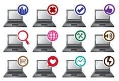 Rund symboler och bärbar datorvektorillustration Arkivbild