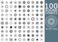 Rund symboluppsättning 100 vektorspirographs Royaltyfria Foton