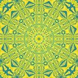 Rund symmetrisk prydnad för stamgäst i stjärnaformljus - blå gräns - centrerad grön guling royaltyfri illustrationer